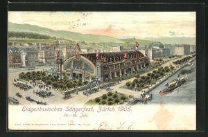 AK Zürich, Eidgen. Sängerfest 1905, Totalansicht mit Festhütte