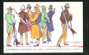 Künstler-AK Aarau, Eidgen. Schützenfest 1924, Jahrhundertfeier