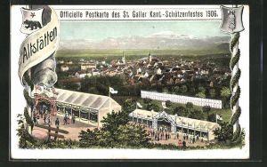 AK Altstätten, St. Galler Kantonal-Schützenfest 1906, Totalansicht aus der Vogelschau