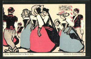AK Bern, Eidg. Schützenfest 1910, Gesellschaft auf dem Weg zum Festplatz