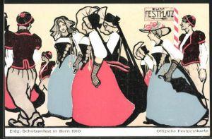AK Bern, Eidg. Schützenfest 1910, Festgesellschaft auf dem Weg zum Festplatz