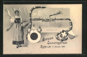 AK Zürich, Eidgen. Schützenfest 1907, Salondampfer Helvetia