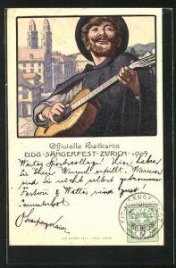 AK Zürich, Eidgen. Sängerfest 1905, Sänger mit Gitarre