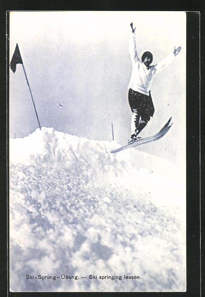 AK Ski-Sprung-Übung über eine Schanze