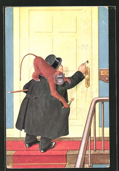 AK Mann mit Affe auf der Schulter will Tür öffnen