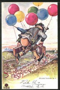 AK St. Gallen, Eidg. Schützenfest 1904, fliegender Schütze mit Luftballon's