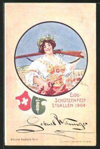 AK St. Gallen, Eidg. Schützenfest 1904, Schützin mit Gewehr