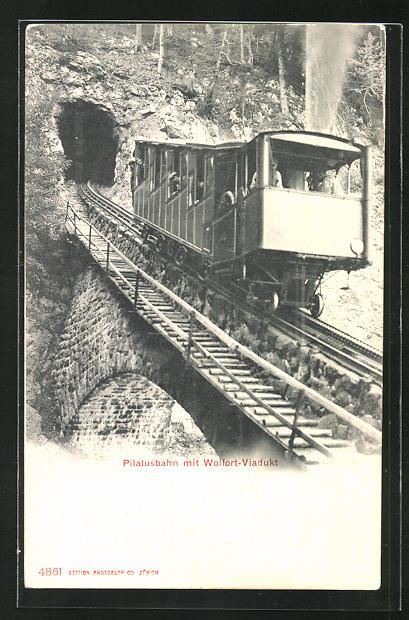 AK Pilatusbahn mit Wolfort-Viadukt