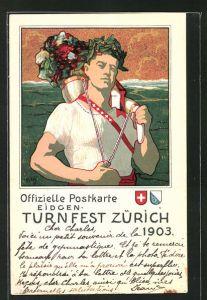 Künstler-Lithographie Zürich, Eidgen. Turnfest 1903, Athlet mit Füllhorn