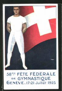 Künstler-AK Genève / Genf, 58me Fête Fédérale de Gymnastique 1925, Turnfest