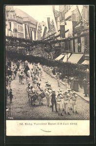 AK Basel, 56. Eidgen. Turnfest 1912, Festumzug
