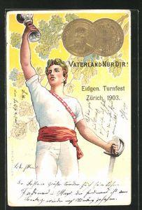 Präge-Lithographie Zürich, Eidgen. Turnfest 1903, Vaterland Nur Dir!, Athlet mit Pokal