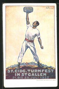 Künstler-AK St. Gallen, 57. Eidg. Turnfest 1922, Kraftsportler