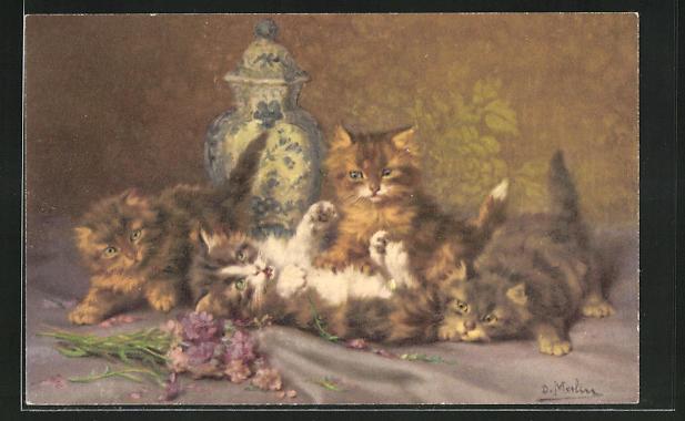 Künstler-AK Spielende Katzenkinder und Blumen