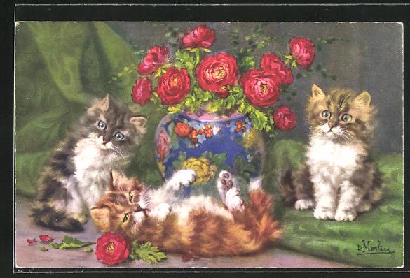 Künstler-AK Katzen mit teilweise zerrupften Blumen aus einer Vase