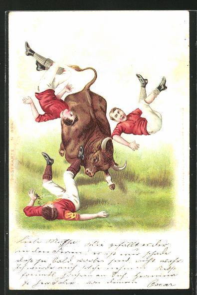 Lithographie Sportler werden von einem wilden Stier über den Haufen gerannt