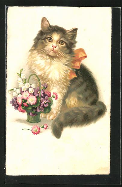 AK Niedliche Katze und kleiner Blumenkorb