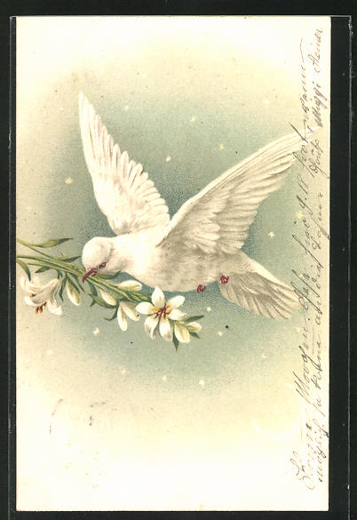Lithographie Weisse Taube mit weissen Lilien im Schnabel
