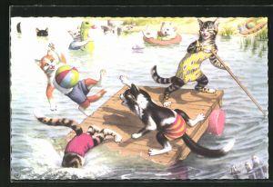 Künstler-AK Katzenkinder auf einem Ponton-Floss