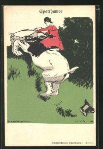Künstler-AK Pferd mit Reiterin überwindet einen Hang