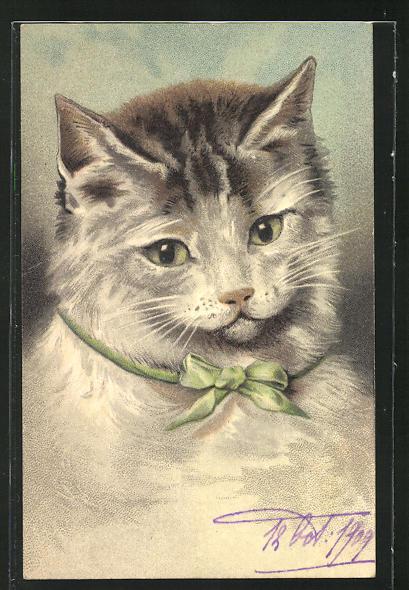 Präge-AK Niedliche getigerte Katze mit grüner Schleife um den Hals