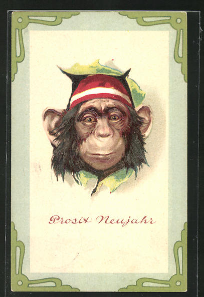 Präge-AK Schimpanse mit Kappe wünscht Prosit Neujahr