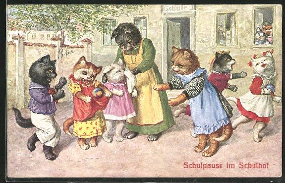 Künstler-AK Katzenkinder spielen während der Schulpause auf dem Schulhof