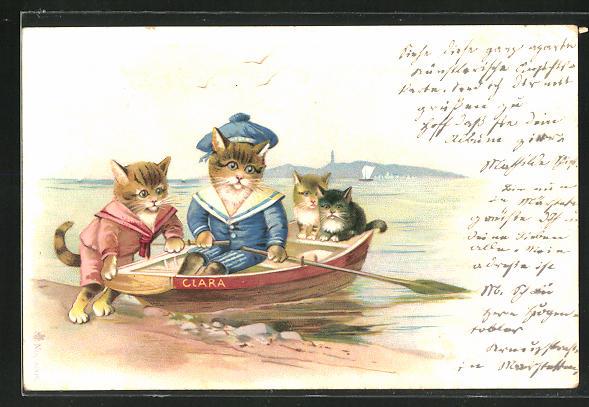 Lithographie Katzen starten zu einer Fahrt im Ruderboot