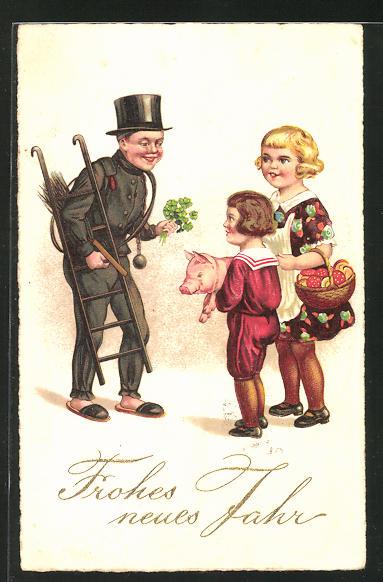 AK Schornsteinfeger mit Glücksklee trifft zwei Kinder mit Glücksschwein und Pilzen, Frohes neues Jahr