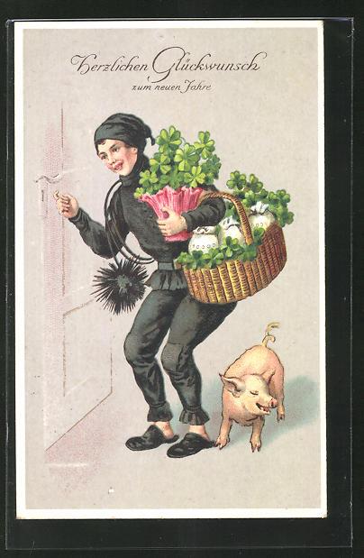 AK Schornsteinfeger mit Klee, Schwein und Geldsäcken klopft an eine Tür, Glückwunsch zum neuen Jahr