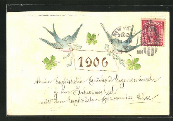 AK Schwalben transportieren Blatt mit Jahreszahl 1906, Glücksklee