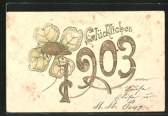 AK Jahreszahl 1903 mit Kleeblatt und Glücksschwein
