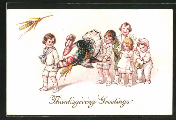 AK Thanksgiving, Kinder transportieren einen Truthahn