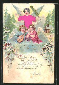 Präge-AK Weihnachtsengel musizieren in den Wolken, Fröhliche Weihnachten