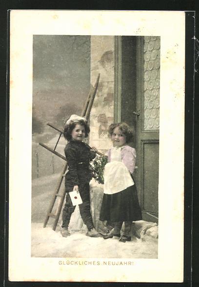 AK Junge Schornsteinfegerin bringt einen Brief an die Tür, Glückliches Neujahr