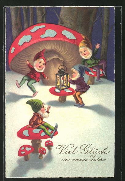 AK Zwerge feiern beim Schein der Lampe im Wald, Glück im neuen Jahr