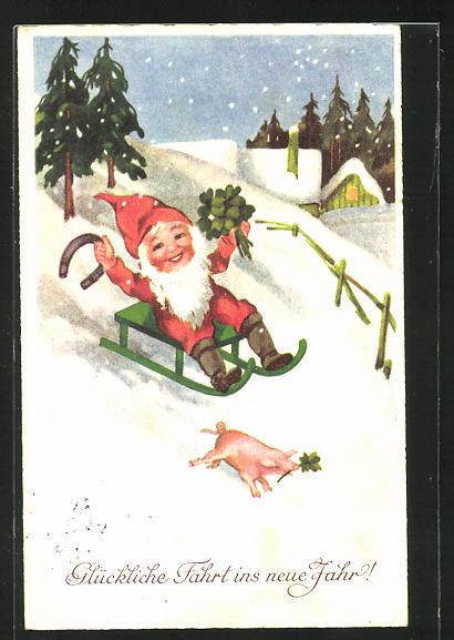 AK Zwerg fährt mit dem Schlitten einen Hang hinunter, Glückliche Fahrt ins neue Jahr