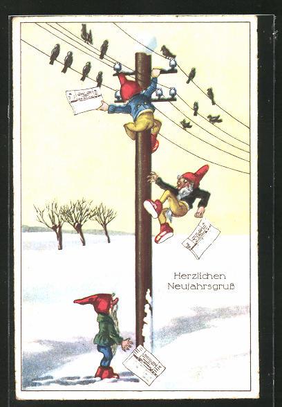 AK Zwerge klettern auf den Telegraphenmast, Neujahrsgruss