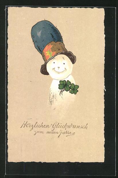 AK Lächelnder Schneemann mit Hut und Klee, Glückwunsch zum neuen Jahre