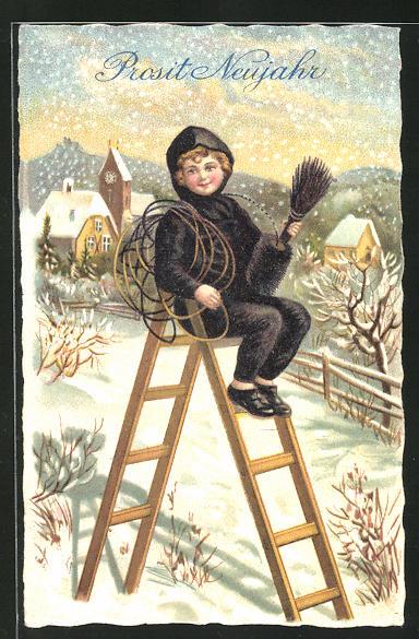 AK Schornsteinfeger sitzt auf einer Leiter im Schnee, Prosit Neujahr