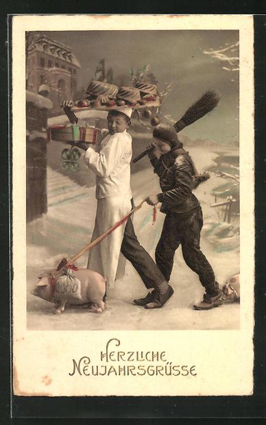 AK Schornsteinfeger hält Schwein mit Geldsäcken an der Leine, Neujahrsgrüsse