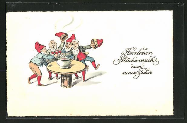 AK Zwerge feiern am Tisch und trinken Bowle, Glückwunsch zum neuen Jahr