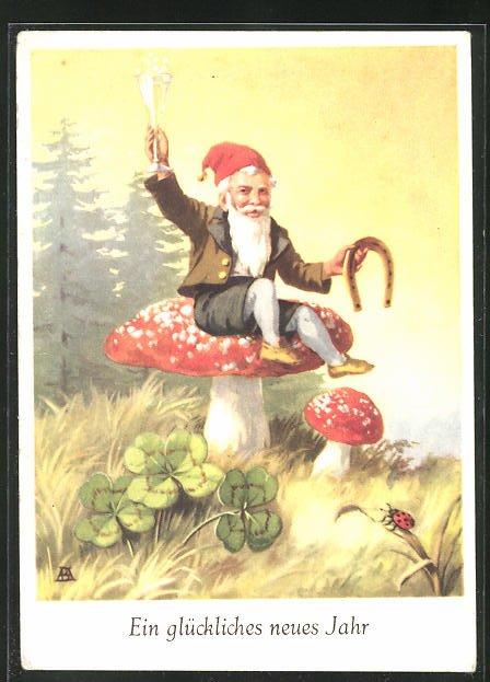 AK Zwerg sitzt mit Hufeisen und Sektglas auf einem Fliegenpilz, Glückliches neues Jahr