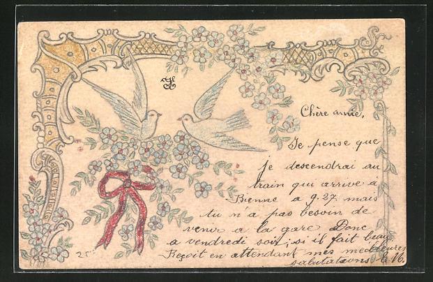 Künstler-AK Handgemalt: Vögel mit Blumen und einer Schleife