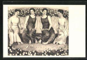 Künstler-AK Ferdinand Hodler: Heilige Stunde, Frauen mit Rosensträuchern, 1907