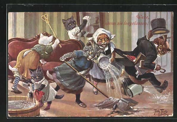 Künstler-AK Arthur Thiele: Katzen beim Reinemachen