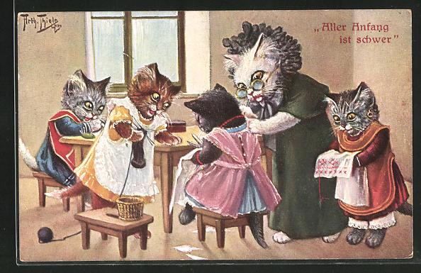 Künstler-AK Arthur Thiele: Katzenmutter mit Kindern bei der Handarbeit