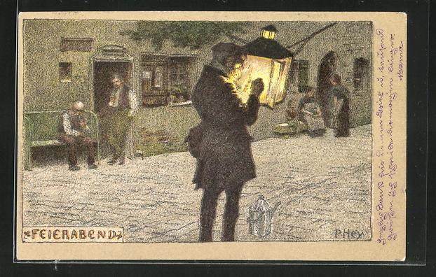 Künstler-Lithographie Paul Hey: Herr mit Laterne auf der Strasse zum Feierabend