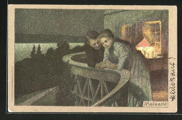 Künstler-AK Paul Hey: Paar auf dem Balkon in einer Mainacht