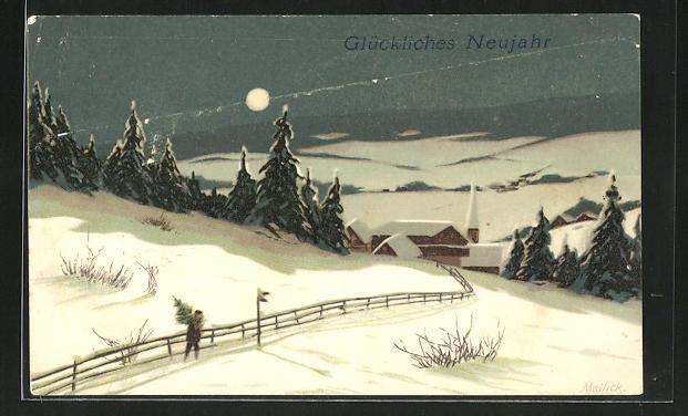 Künstler-AK Alfred Mailick: Mann trägt eine Tanne durch den Schnee, Neujahrsgruss